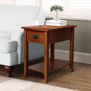 Benjara BM181592 Transitional Wooden Chair Side End Table with Drawer and Open Shelf, Brown