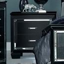Benzara BM181877 Mirror Accented Wooden Night Stand With 2 Drawer, Black