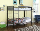 Benzara BM182640 Metal Twin-Over-Twin Bunk Bed With Built-In Ladder, Gunmetal Gray & Black