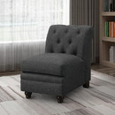 Benzara BM182655 Transitional Linen & Wood Armless Chair With Tufted Design, Charcoal Gray