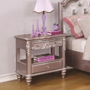 Benzara BM182827 Wooden Carved Nightstand with 2 Drawers, Purple