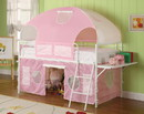 Benzara BM182841 Metal Frame Fairy Tent Bunk Bed With Fabric Covering, White & Pink