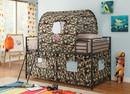 Benzara BM182843 Camouflage Metal & Fabric Tent Loft Bed, Multicolor