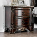 Benzara BM182950 Transitional Wood Night Stand With Genuine Marble Top, Brown
