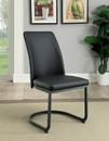 Benzara BM183116 Leatherette Upholstered Side Chair with U Shape Metal Cantilever Base, Pack of Two, Black