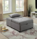 Benzara BM183225 Tufted Fabric Upholstered Folding Ottoman with Storage, Light Gray