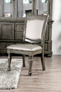Benzara BM183300 Faux Leather Upholstered Solid Wood Side Chair, Pack of Two, Silver and Gray