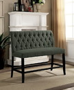 Benzara BM183637 Fabric Upholstered Wooden Counter Height Bench, Gray and Black