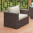 Benzara BM183729 Faux Rattan Arm Chair with Seat & Back Cushions, Gray And Ivory
