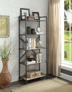 Benzara BM184754 Five Tier Metal Bookshelf With Wooden Shelves and Piped Frame, Brown & Gray