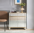 Benzara BM184774 Fully Mirrored Wooden Console Table With Two Drawers And One Cabinet, Silver