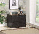 Benzara BM184786 Two Drawers Wooden Nightstand with Faux Marble Top, Espresso Brown