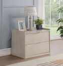 Benzara BM184788 Contemporary Style Wooden Nightstand with Two Drawers, Washed White