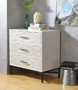 Benzara BM184802 Patterned Three Drawers Wooden Console Table with Metal Base, White & Black