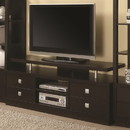Benzara BM184878 Minimal Style Wooden TV Console With Multi Storage, Cappuccino Brown