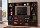 Benzara BM184882 Modern & Minimal Style TV Console With Multi Shelves & Drawers, Cappuccino Brown