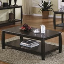 Benzara BM184884 Contemporary Style Wooden Coffee Table With Slightly Rounded Shape, Dark Brown
