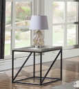 Benzara BM184954 Industrial Style Minimal End Table With Wooden Top And Metallic Base, Gray