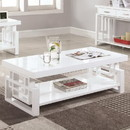 Benzara BM184969 Contemporary Wooden Coffee End Table With Designer Sides & Shelf, Glossy White