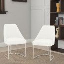 Benzara BM185148 Velvet upholstered Dining Chair With Steel Feet, Silver And White, Set Of Two