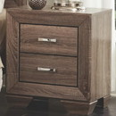 Benzara BM185319 Transitional Style Wooden Nightstand with Two Drawers and Tapered Feet, Brown
