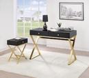 Benzara BM185349 Rectangular Two Drawer Wooden Desk With