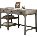 Benzara BM185351 Wooden and Metal Desk With Three Drawers and 2 Side Shelves, Brown And Gray
