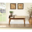 Benzara BM185379 Wooden Bench with Fabric Upholstered Seat Cushion & Open Compartment, Walnut Brown