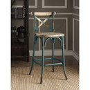 Benzara BM185392 Metal Bar Height Chair with X Shaped Open Back, Distressed Blue and Brown