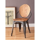 Benzara BM185396 Wood and Metal Dining Side Chair with Oval Backrest, Set of 2, Brown and Gray