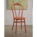 Benzara BM185397 Set of Two Metal Side Chairs with Distressed Rubbing Accents, Antique Orange