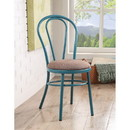 Benzara BM185399 Set of Two Metal Side Chairs with Padded Seat, Teal