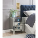 Benzara BM185408 Wood & Mirror Nightstand with Faux Agate Knob, Silver