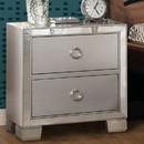 Benzara BM185423 Two Drawer Nightstand With Mirror Insert Front Trim, Platinum