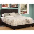Benzara BM185432 Polyurethane Upholstered Queen Bed With Low Profile Footboard & Block Leg, Brown