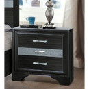 Benzara BM185438 Two Tone Wooden Nightstand With Three Drawers, Black And Silver