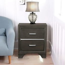 Benzara BM185456 Wooden Two Drawer Nightstand With Bracket Legs, Gray