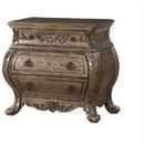 Benzara BM185462 Three Drawer Nightstand With Antique Handles & Scrolled Legs, Vintage Oak Finish