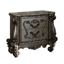 Benzara BM185471 Two Drawer Nightstand With Oversized Scrolled Legs In Antique Platinum Finish