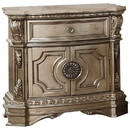 Benzara BM185480 Marble Top Nightstand With One Drawer And Two Door Shelf, Antique Champagne