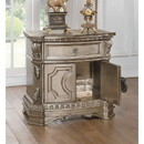 Benzara BM185481 Wood Top Nightstand With One Drawer And Two Door Shelf, Antique Champagne
