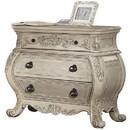 Benzara BM185484 Three Drawer Wooden Nightstand With Scrolled Feet, Antique White