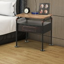 Benzara BM185511 Industrial Pipe Detailed Nightstand With One Drawer And One Shelf, Antique Oak and Sandy Grey
