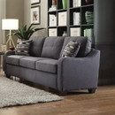 Benzara BM185580 Contemporary Linen Upholstered Wooden Sofa with Two Pillows, Gray