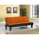 Benzara BM185591 Button Tufted Fabric Upholstered Wooden Adjustable Sofa, Orange and Black