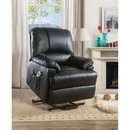 Benzara BM185600 Contemporary Polyurethane Upholstered Metal Recliner with Power Lift, Black