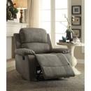 Benzara BM185604 Contemporary Microfiber Upholstered Metal Recliner with Pillow Top, Gray