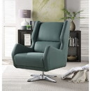 Benzara BM185624 Faux Leather Upholstered Swivel Accent Chair with Metal Base, Green