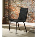 Benzara BM185659 Stitched Faux Leather Upholstered Metal Side Chair, Set of Two, Black