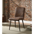 Benzara BM185660 Dimond Patterned Faux Leather Upholstered Metal Side Chair, Set of Two, Brown